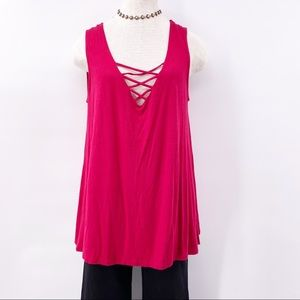 Living Doll Los Angeles Sleeveless Burgundy Top